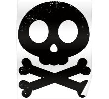Cute Skull and Crossbones (black) Poster