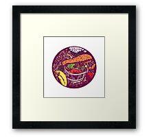Winter Squash Pumpkin Oval Woodcut Framed Print