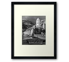 Vernazza in Black and White - vertical Framed Print