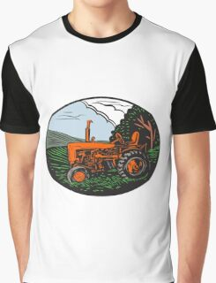 Vintage Tractor Farm Woodcut Graphic T-Shirt