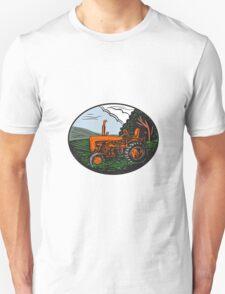 Vintage Tractor Farm Woodcut T-Shirt