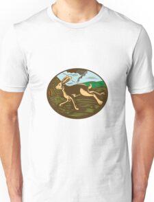 Wild Hare Rabbit Running Oval Woodcut Unisex T-Shirt