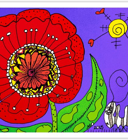Red Flowers Grow In Mo's Garden Sticker