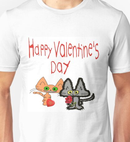 Cats Wishing A Happy Valentine's Day Unisex T-Shirt