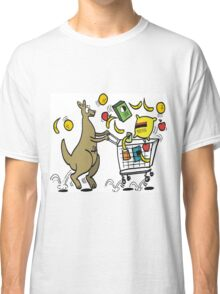 Cartoon kangaroo shopper with trolley full of groceries Classic T-Shirt