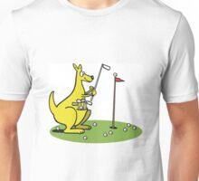 Cartoon kangaroo playing golf on putting green. Unisex T-Shirt