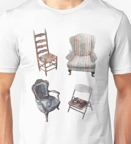 Origami Abandoned On Chairs Unisex T-Shirt