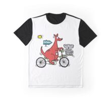 Cartoon showing big red kangaroo riding bicycle Graphic T-Shirt