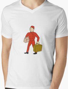 Bellboy Bellhop Carry Luggage Cartoon Mens V-Neck T-Shirt