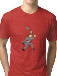 Businessman With Shovel Digging Cartoon Tri-blend T-Shirt