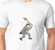 Businessman With Shovel Digging Cartoon Unisex T-Shirt