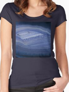 Blue Agate Stone Women's Fitted Scoop T-Shirt