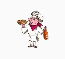 Pig Cook Pie Wine Bottle Cartoon T-Shirt