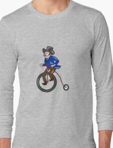 Gentleman Riding Penny-farthing Cartoon Long Sleeve T-Shirt