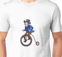Gentleman Riding Penny-farthing Cartoon Unisex T-Shirt