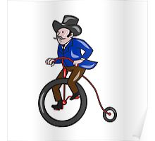Gentleman Riding Penny-farthing Cartoon Poster