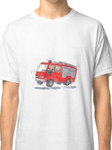Red Fire Truck Fireman Caricature Classic T-Shirt