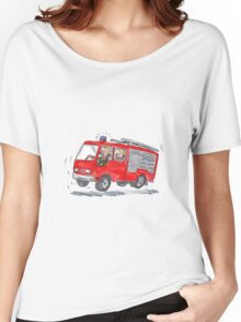 Red Fire Truck Fireman Caricature Women's Relaxed Fit T-Shirt
