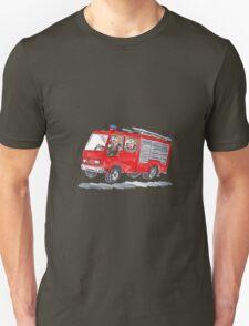 Red Fire Truck Fireman Caricature T-Shirt