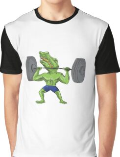 Sobek Weightlifter Lifting Barbell Caricature Graphic T-Shirt