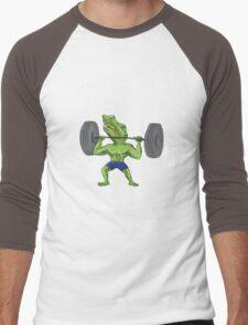 Sobek Weightlifter Lifting Barbell Caricature Men's Baseball ¾ T-Shirt