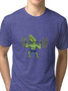 Sobek Weightlifter Lifting Barbell Caricature Tri-blend T-Shirt
