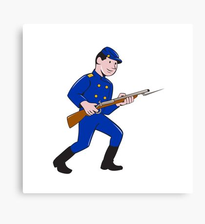 Union Army Soldier Bayonet Rifle Cartoon Canvas Print