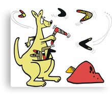 Cartoon of kangaroo throwing boomerangs in outback Canvas Print