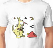 Cartoon of kangaroo throwing boomerangs in outback Unisex T-Shirt