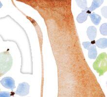 Fox and Blue Hydrangea Sticker