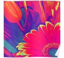 Bright Pink Abstract Flowers Poster