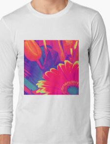Bright Pink Abstract Flowers Long Sleeve T-Shirt