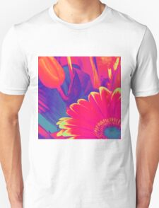 Bright Pink Abstract Flowers T-Shirt