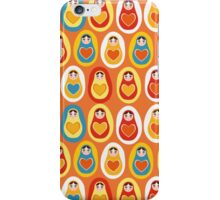 Russian dolls matryoshka orange blue red yellow iPhone Case/Skin