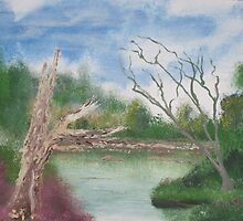 Dead trees by the pond. by Easel
