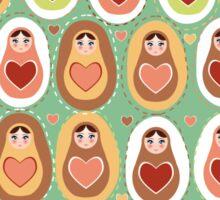 Russian dolls matryoshka mint pink brown. Sticker