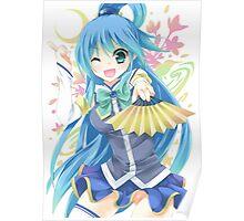Aqua Holding Fan Poster