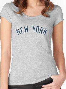 New York Yankees Simple Font Women's Fitted Scoop T-Shirt