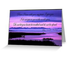 john 14:27 olympic mountains over north puget sound - pink Greeting Card
