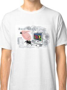 Cartoon of business man asleep at computer Classic T-Shirt