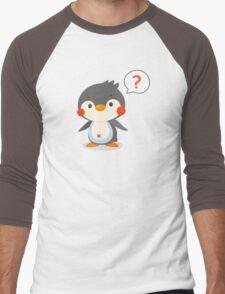 Questionmark and penguin - DozerFever  Men's Baseball ¾ T-Shirt