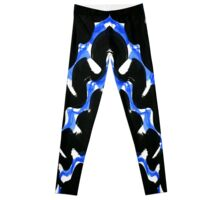 Black and Blue Space Wave Painting Leggings