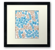 Blue - flowers - white Framed Print