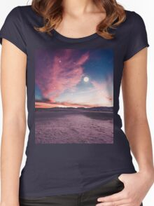 Moon gazing Women's Fitted Scoop T-Shirt