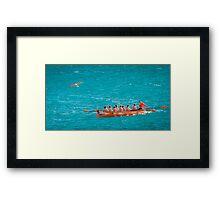 Rowing team practice Framed Print