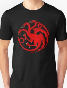 Horror A red dragon on a black field Man's Tshirt T-Shirt