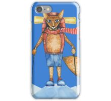 Cute hand drawn watercolor cartoon fox traveler on the top of the hill. iPhone Case/Skin