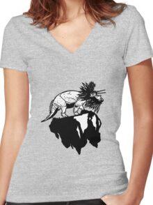 Bottle Brush Dino Women's Fitted V-Neck T-Shirt