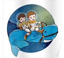 Baby Astronauts & A Whale Poster