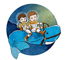 Baby Astronauts & A Whale Photographic Print